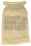British Flag Rhinestone Knit Pet Sweater XL Cream